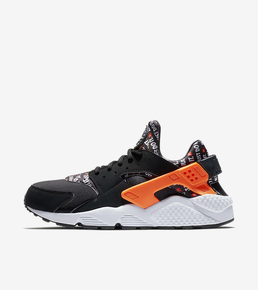 NIB Nike Mens Air Huarache Run Just Do It JDI Black Running shoes Size 9.5