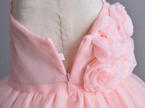 Elegant Infant dentelle baptême Slip Robe 3D Fleur Nouveau Bébé Baptême Tulle Robe