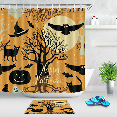 "60//72/"" Happy Halloween Cute Cat and Pumpkin Waterproof Fabric Shower Curtain Set"