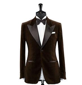 Image is loading Mens-Designer-Grooms-Wedding-Tuxedo-Brown-Casual-Velvet-