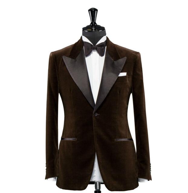 Men Brown Velvet Blazer Designer Grooms Wedding Tuxedo Casual Coat