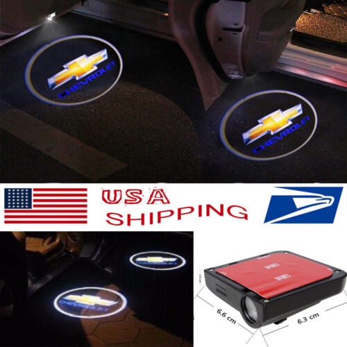 2x Wireless Courtesy Car Door LED Step Laser Welcome Ghost Lights for Chevrolet