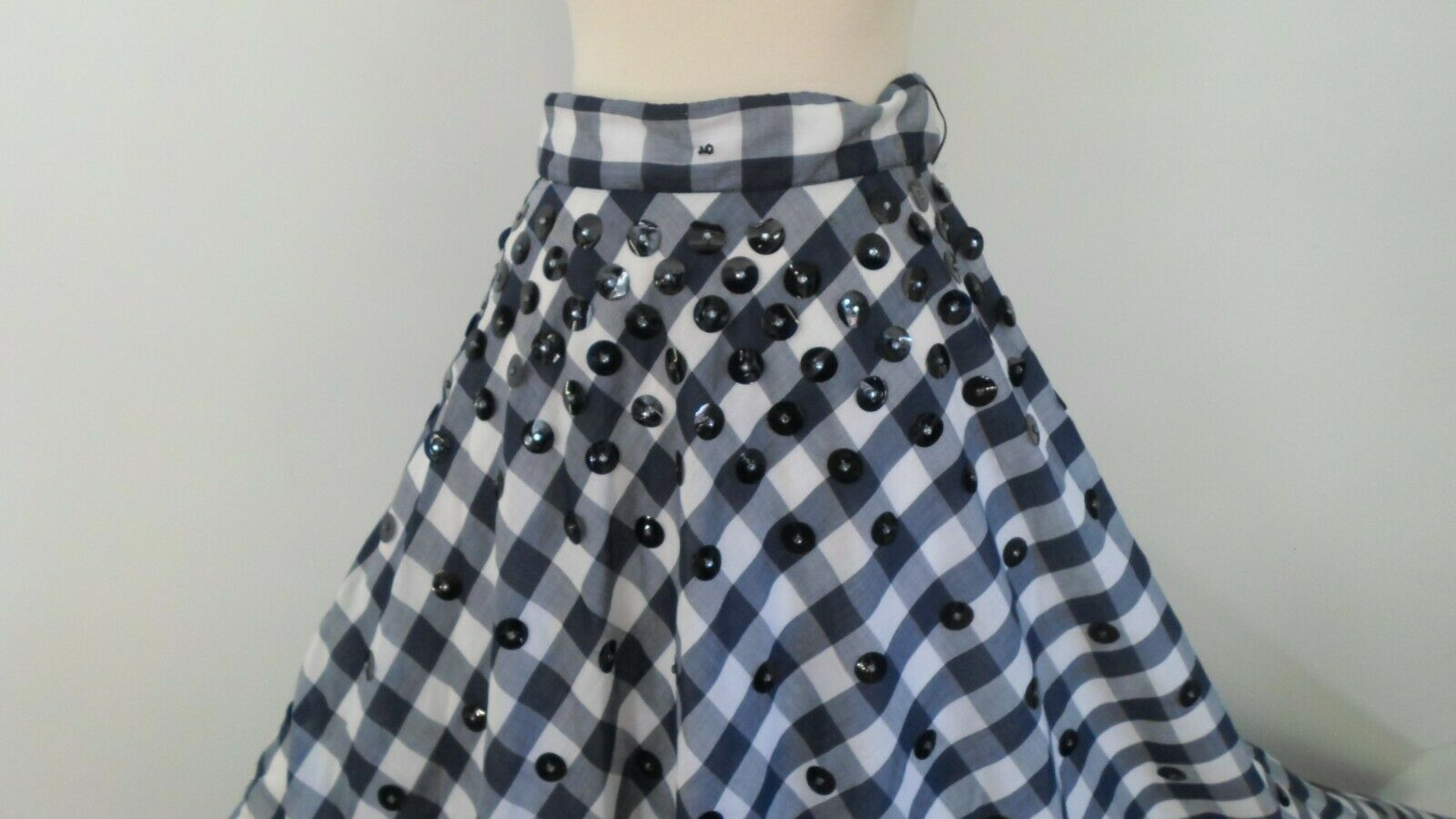 80s dress 1980s vintage TWO TONE GRAY white fit and flare  cotton full skirt dress
