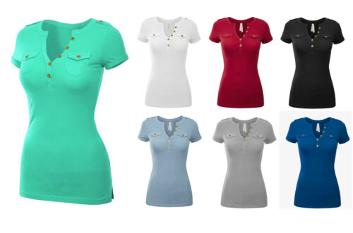 Women/'s Short Sleeve Henley Top Soft Cotton Knit Fitted T-Shirt Pockets Casual