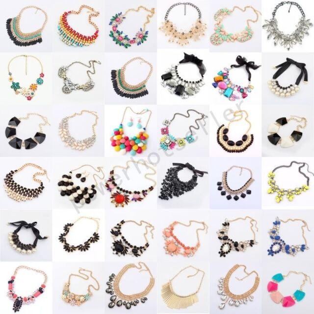 Fashion Women Vintage Necklace Chain Crystal Statement Bib Chunky Collar Pendant