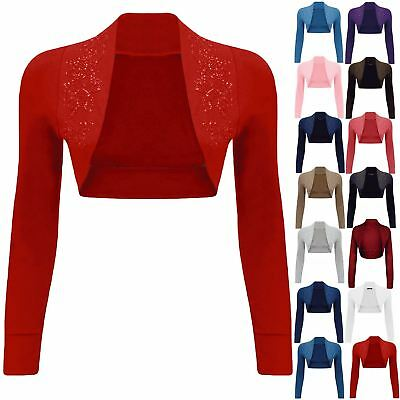 Gewidmet Womens Ladies Beaded Long Sleeve Collared Short Bolero Crop Shrug Cardigan Top