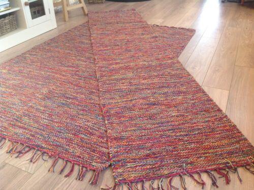 LARGE /& RUNNER MEDIUM ❤️Multi Colour Cotton Yarn Mottled Fringed Rug SMALL