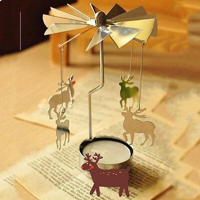 Spinnig Rotary Carrousel Tea Light Stand Canble Holder -Christmas Four Styles