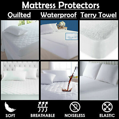 Double Bunk Bed Small Double Cot Bed King Terry Towel Waterproof Mattress Protector Fitted Sheet Bed Cover Sizes Mattress All Uk Sizes Single Super King Super King
