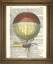 """Steampunk HOT AIR BALLOON: VINTAGE FLYING MACHINE dizionario ART PRINT (8 X 10 """")"""