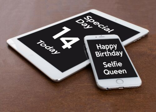 PHONE TABLET PERSONALISED BIRTHDAY CARD Mum Dad Son Daughter Brother Sister tag