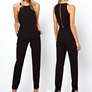 damen chiffon lange overall hose playsuit romper jumpsuit r ckenfrei anzug 34 44 ebay. Black Bedroom Furniture Sets. Home Design Ideas