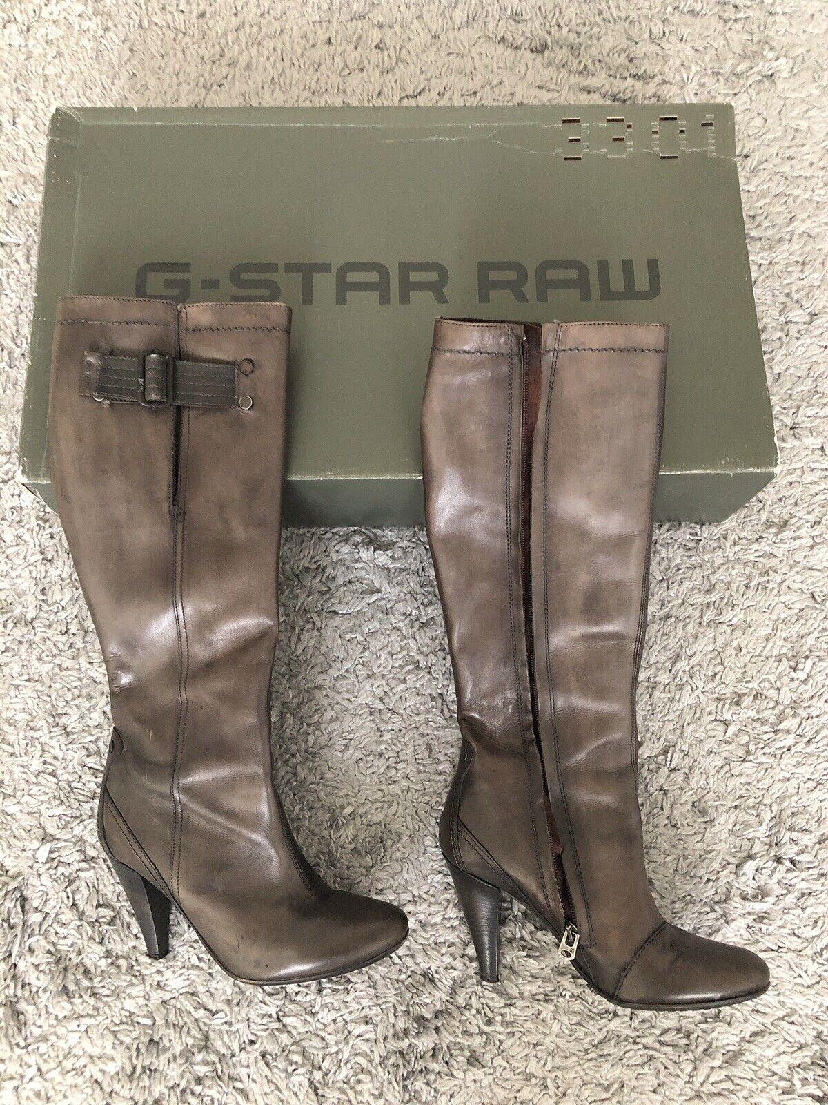 Stiefel Mit Absatz Von G Star Raw Leder Grau Gr 38 Top Zustand