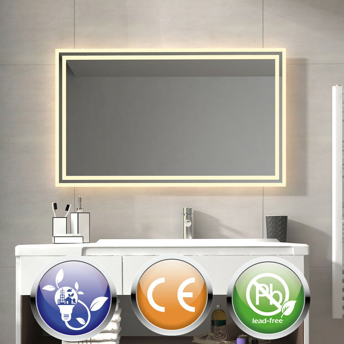 LED Badspiegel mit Beleuchtung Warmweiß Wandspiegel  60x80 80x60100x60 120x60cm