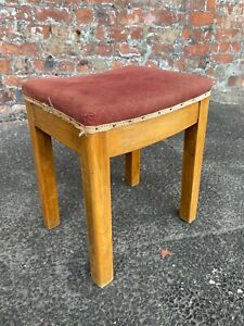 SOLID-HEAVY-VINTAGE-MID-CENTURY-WOODEN-STOOL-WITH-UPHOLSTERED-SEAT-FOOTSTOOL