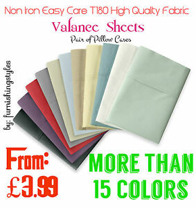 NON-IRON-EASY-CARE-VALANCE-SHEET-PERCALE-T180-PILLOW-CASES-BEDDING-ALL-SIZES