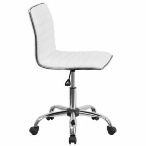 Flash Furniture Mid Back Armless Ribbed Designer Task Chair White