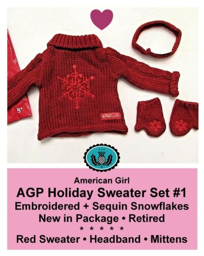Mittens/_Retired/_NEW in PKG American Girl/_HOLIDAY SWEATER SET No 1/_Headband