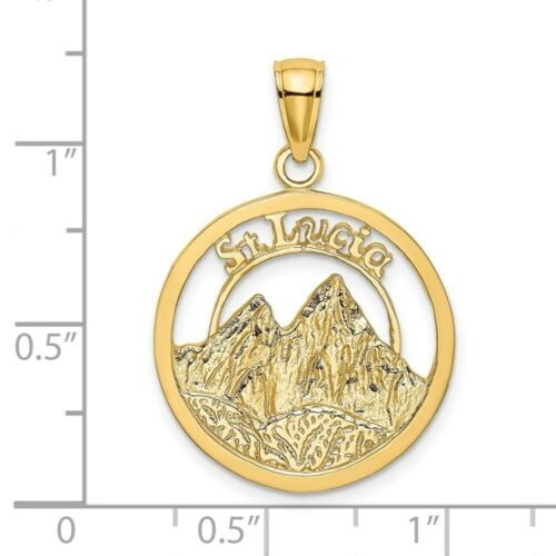 Details about  /14K Yellow Gold St Lucia Twin Pitons Charm Pendant MSRP $408
