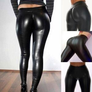 Women-Sexy-Faux-Leather-Leggings-Wet-Look-Slim-Trousers-Black-High-Waist-Pant