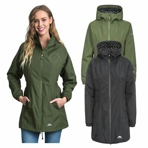 Trespass-Womens-Parka-Jacket-Hooded-Waterproof-Longline-Coat-Polka-Dot