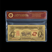 """WR 1901 Series US Gold Banknote $10 Ten Dollar Bill """"Bison Note"""" Gold Note + COA"""
