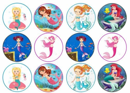 Mermaid THEME Edible Tranches CUP CAKE TOPPERS standing or Disc