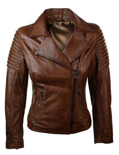 Slim Woman Fit Brown Jacket Biker Genuine Leather Real RZTxAdZqw
