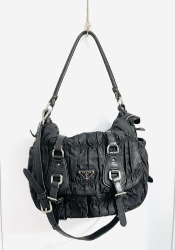 AUTHENTIC BLACK  PRADA LEATHER AND RAYON PLEATED H