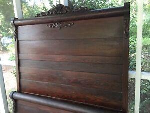 Details about Antique Oak Bedroom Set - Headboard, Footboard, Dresser,  Washstand with Mirror