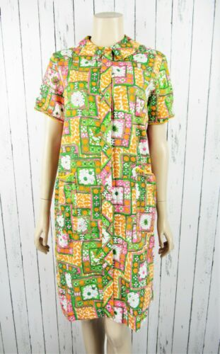Vintage 60s Funky Patchwork Polyester Maxi Lounge Dress Size 12 Gown Pajamas Neon DayGlo Psychedelic House Dress