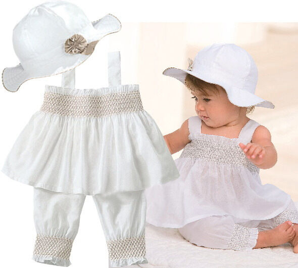 Hot Baby Toddler Girl Kid Ruffle Top+Pants+Hat Outfit Clothes 0-24M Vest Pants