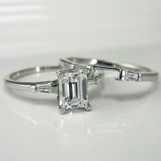 Certified 2.5ct White Emerald & Baguette Diamond Engagement 14K gold Bridal Ring
