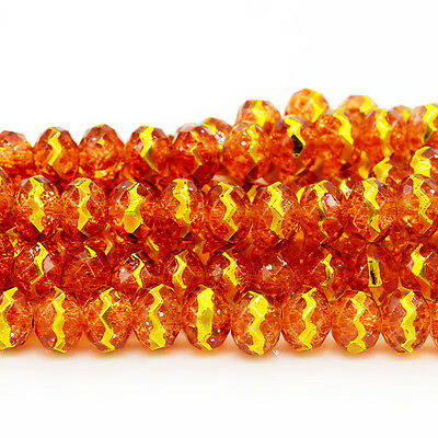 24pcs 8mm Faceted Rondelle Cut Glass Crystal Loose Spacer Beads B379