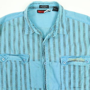 Vtg-90s-Todays-News-Shirt-Mens-XL-Faded-Discolor-Grunge-Surf-Skate-Beach-Striped