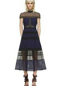 SELF-PORTRAIT-Women-039-s-Navy-Lace-Allover-Midi-Party-Evening-Dress-UK-6-34-750