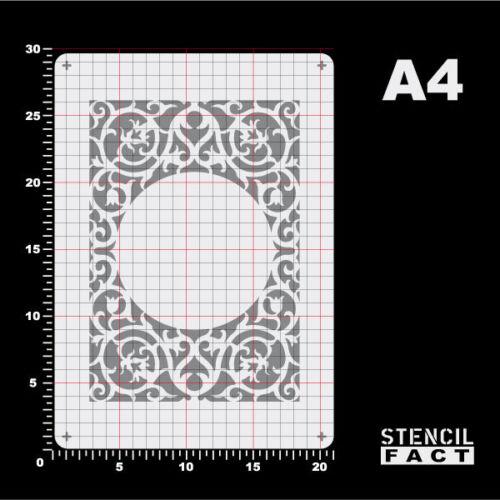 A4 Schablone Rahmen Akanthus Spiralranke Ornament BO453