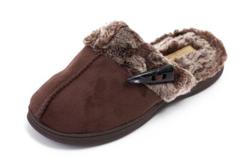Ladies//Womens Coolers Fur Slippers Microsuede Mule Slippers Slip On Fur Collar