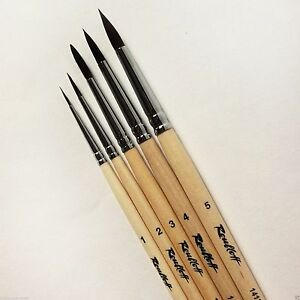 WATERCOLOR SQUIRREL Professional Artist Paint Brush 5 Set Long Russia Roubloff