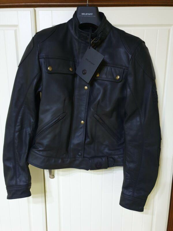 Bmw Belstaff Darley Black Leather Motorrad Damen Jacket 42