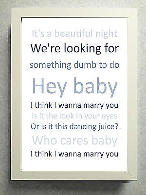 Striking Typographical Print Sign Gift Marry You Bruno Mars Favourite Lyrics Ebay