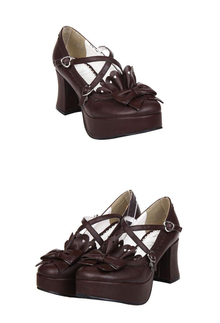 Schwarz Gothic Goth Lolita Barock Damen Schuhe Schuhes Cosplay Kostüme pumps Neu