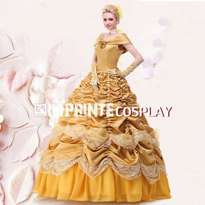 Princess Belle Dress Adult Deluxe Belle Cosplay Costume Ball Gown