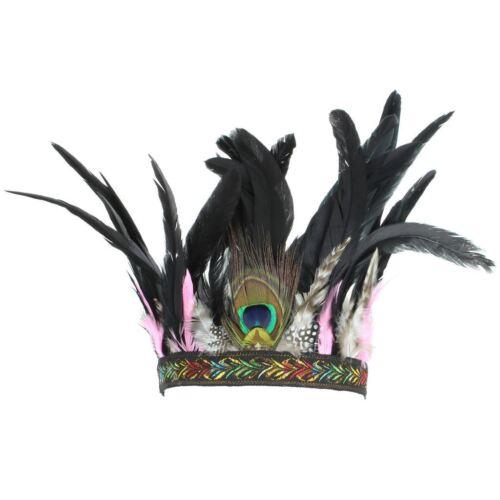 Headdress Headband Feathers Hat PINK HEN Party Boho Headpiece