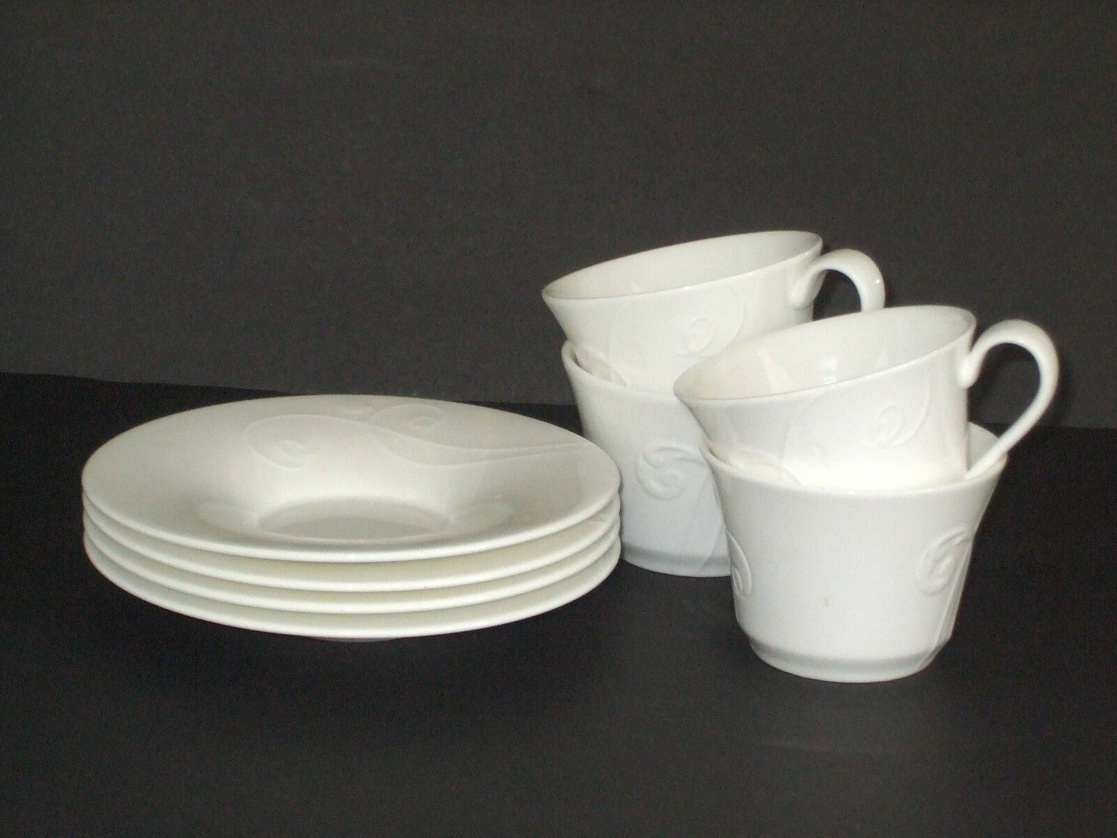 WEDGWOOD NEW  NEPTUNE WHITE SET OF FOUR CUPS & FOUR SAUCERS
