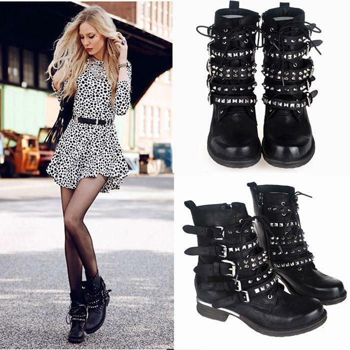 Womens Retro Buckle Leather Zip Punk Rivet Ankle Boots Shoes Biker Boots new hot