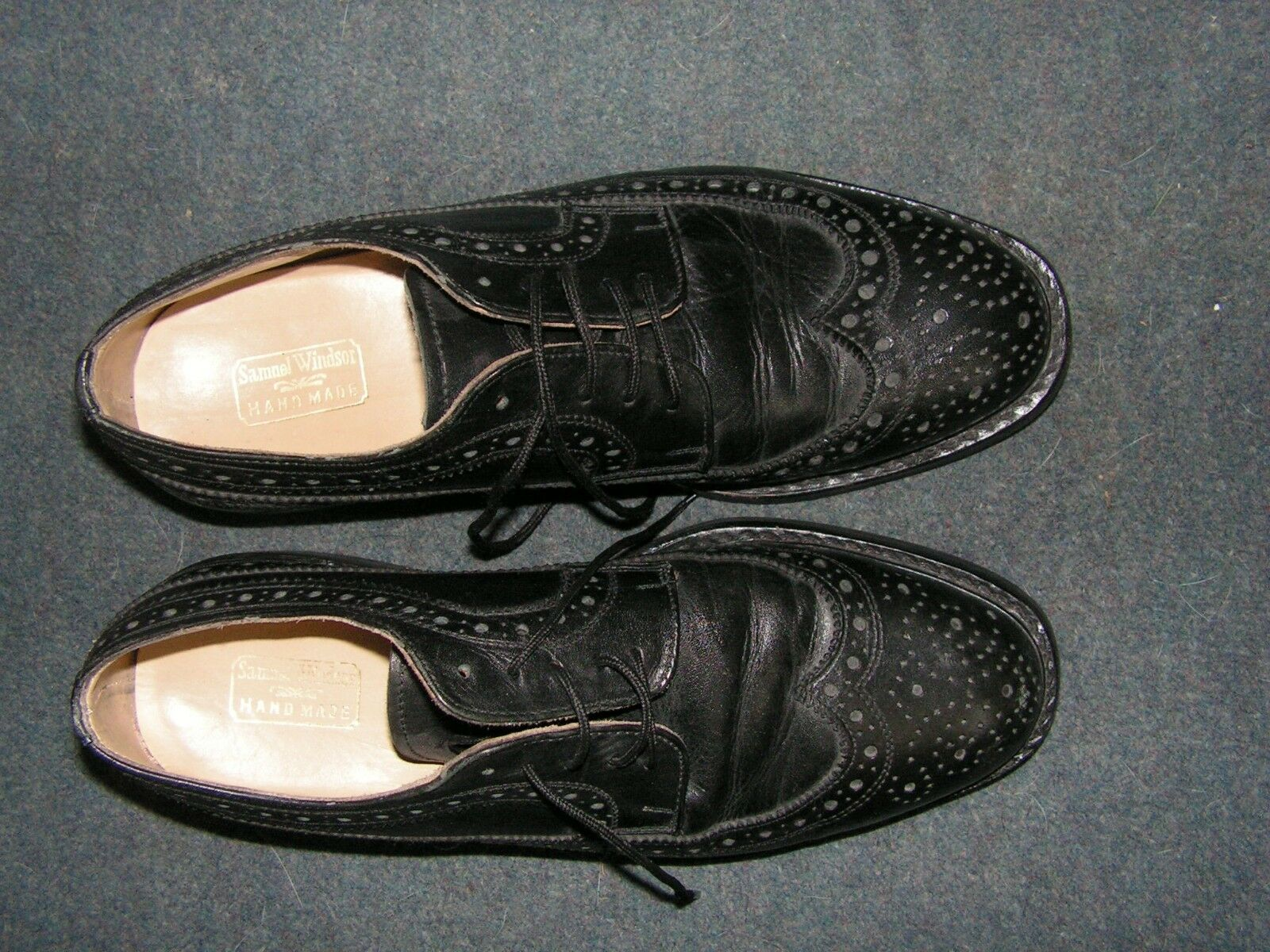SAMUEL WINDSOR MENS CLASSIC BROGUE SHOES HAND MADE BLACK LEATHER SIZE 7