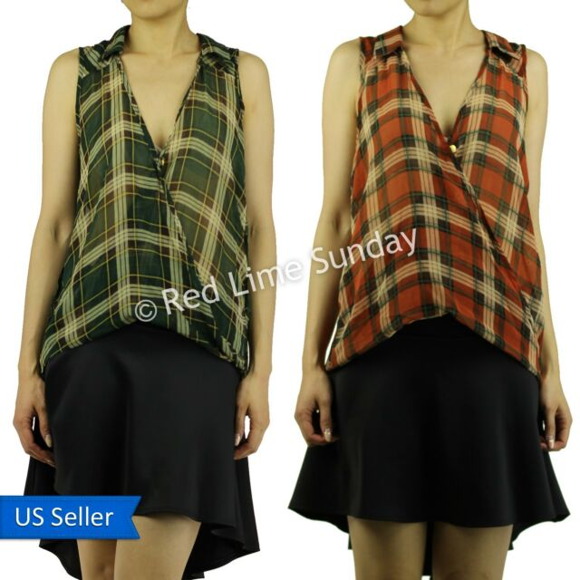 Plaid Check Color Sleeveless Inside Out Seam Detail Hi Lo Collar Tank Top Shirt