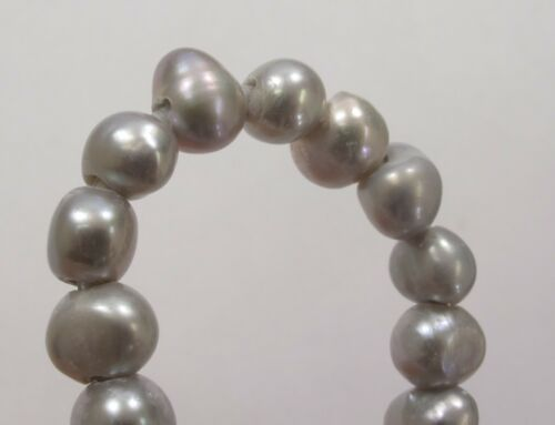 Large Hole Gray//Silver Freshwater Pearl Nuggets Size 6-7mm Hole Size 1.8mm #15
