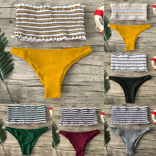 Damen Bandeau Bademode Bikini Set Badeanzug Strand Schwimmanzug GR.34 36 38 40